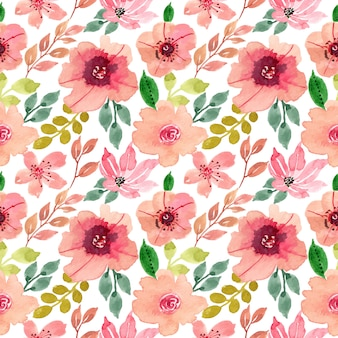 Beautiful pink flower watercolor seamless pattern