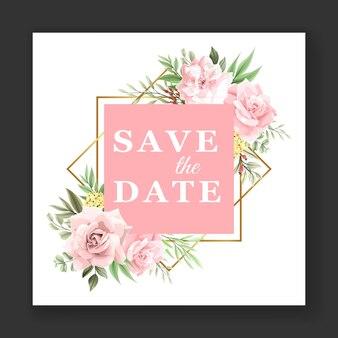아름 다운 핑크 꽃 수채화 웨딩 카드 초대장 템플릿