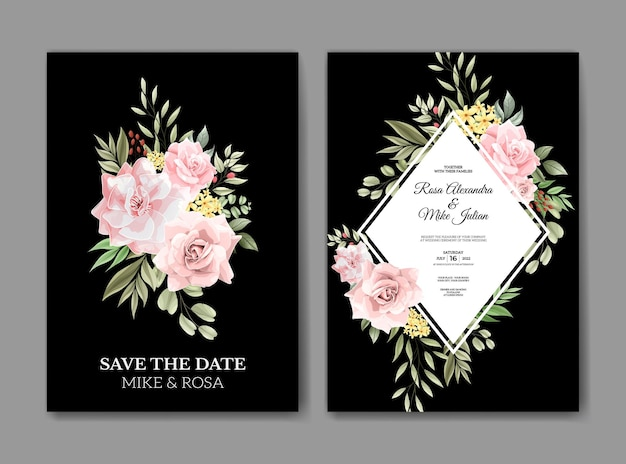 Красивый розовый цветок акварель свадебное приглашение шаблон