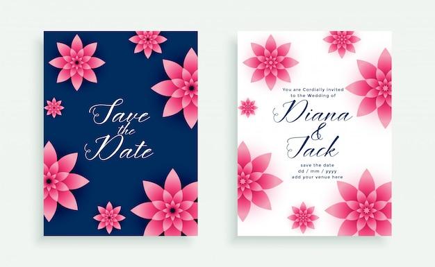 美しいピンクの花の結婚式の招待カードのテンプレート