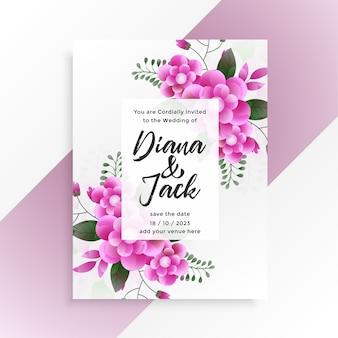 Beautiful pink flower wedding invitation template design
