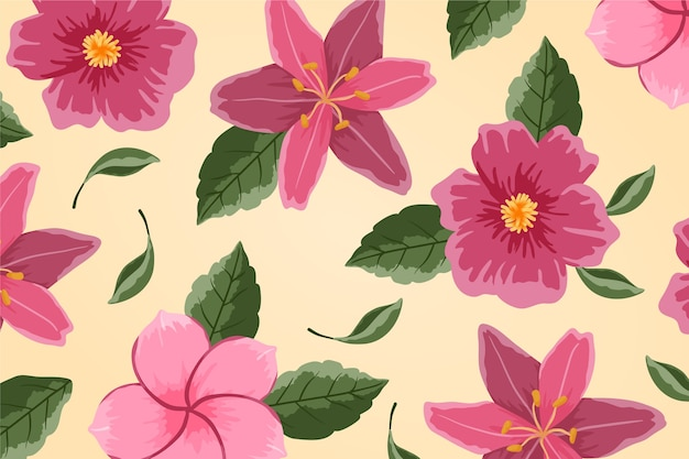 Beautiful pink flowers hand drawn painted