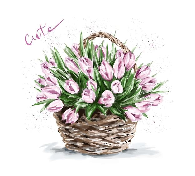 Красивые розовые цветы в корзине.