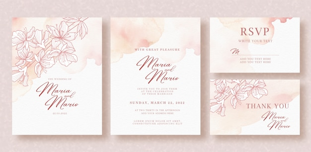 Beautiful pink flowers line art on wedding card template