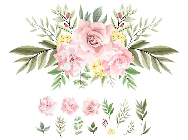 아름 다운 핑크 꽃 수채화 꽃다발 장식 세트