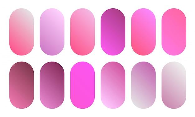 美しいピンクのグラデーションコレクション。柔らかく鮮やかな滑らかなカラーボタンセット