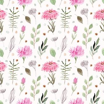 Красивый розовый зеленый цветочный акварельный бесшовный фон