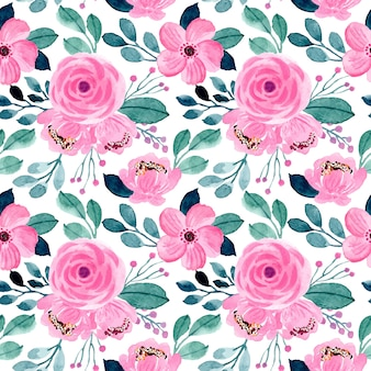 Beautiful pink and green floral watercolor seamless pattern