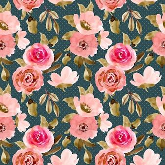 Beautiful pink green flower watercolor seamless pattern
