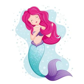아름다운 분홍색 머리 인어 그림 프리미엄 벡터