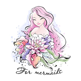 Beautiful pink hair mermaid with a bouquet of flowers.