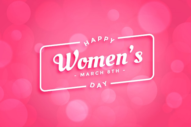 Beautiful pink happy womens day greeting card