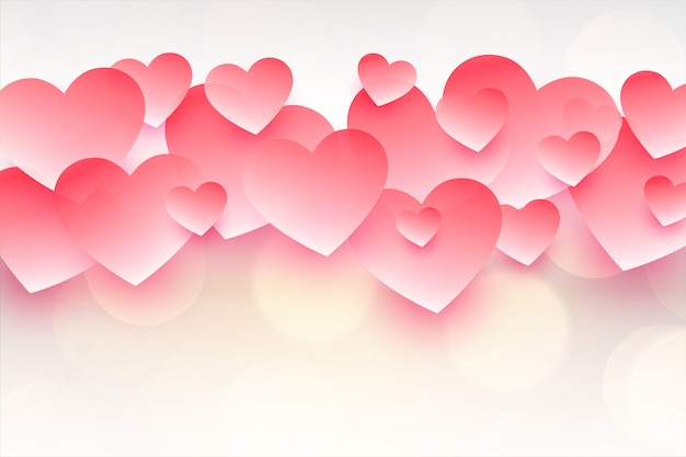 Beautiful pink hearts for happy valentines day