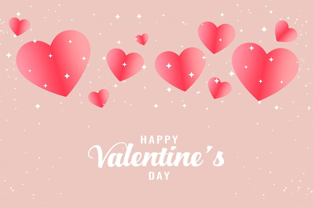 Beautiful pink hearts valentines day greeting background