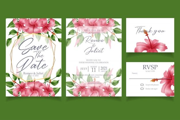 Beautiful pink hibicus flower watercolor invitation wedding party