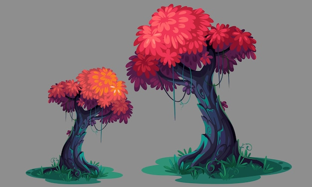 Beautiful pink leaves tree concept art