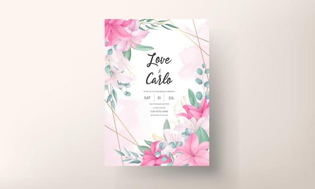 Beautiful pink lily flower wedding invitation card