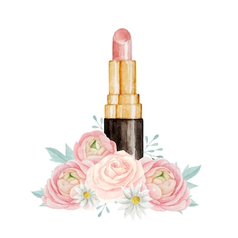 Beautiful pink lipstick with watercolor floral composition