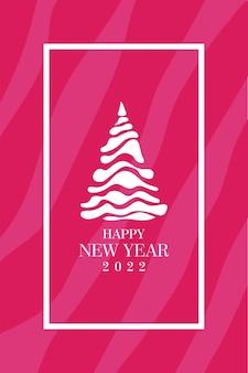 美しいピンクの新年の背景白いフレームと白い様式化された文字