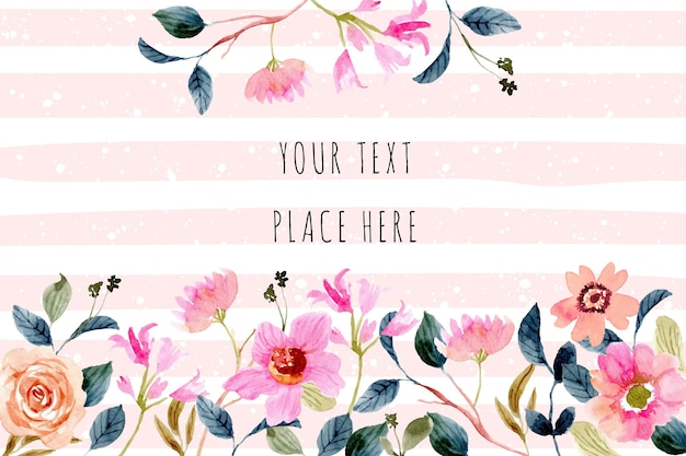 Beautiful pink peach flower watercolor background frame