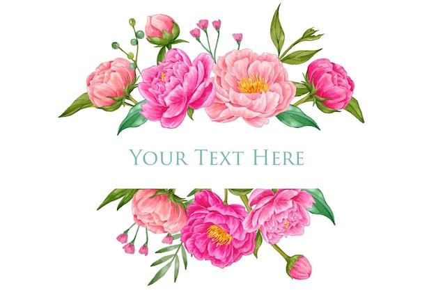 Красивый розовый пион акварель баннер
