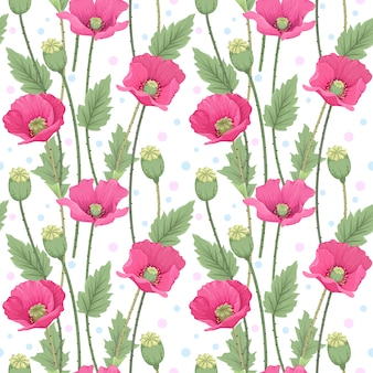Beautiful pink poppy flowers seamless pattern.