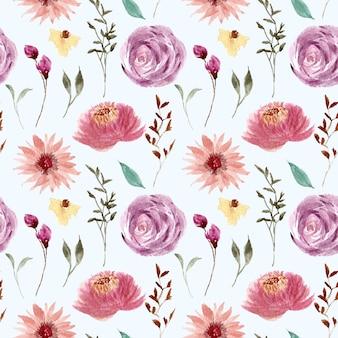 아름다운 분홍색 보라색 꽃 수채화 패턴