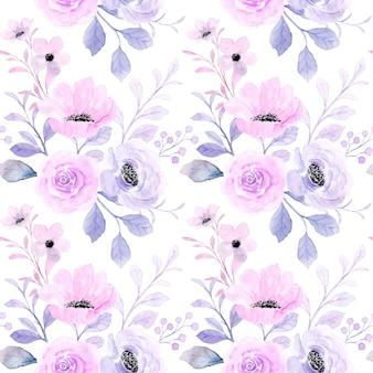 아름 다운 분홍색 보라색 꽃 수채화 원활한 패턴