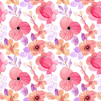 Beautiful pink purple floral watercolor seamless pattern