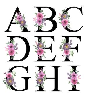 Beautiful pink purple florals watercolor alphabet design a - i editable