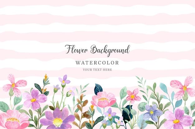 Beautiful pink purple watercolor flower garden background