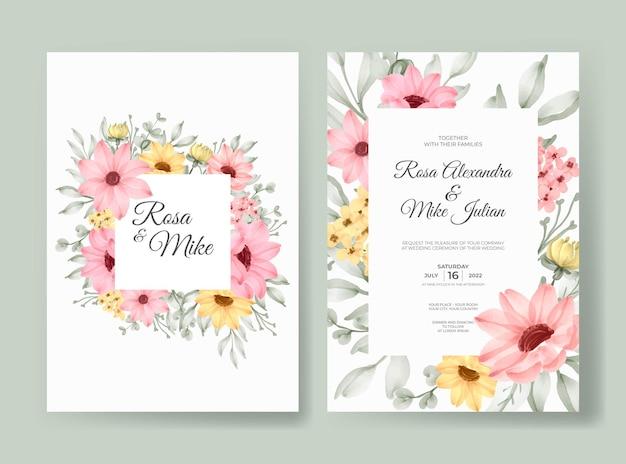 美しいピンクのバラの花の水彩画の結婚式の招待カードのテンプレート