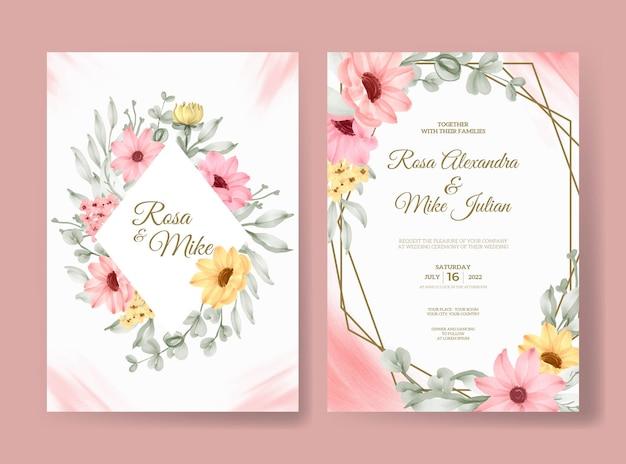 아름 다운 핑크 장미 꽃 수채화 결혼식 초대 카드 서식 파일