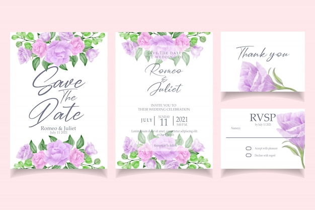 Beautiful pink rose flower watercolor invitation wedding party