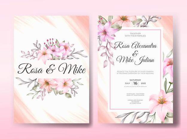 Шаблон приглашения на свадьбу с красивыми розовыми розами