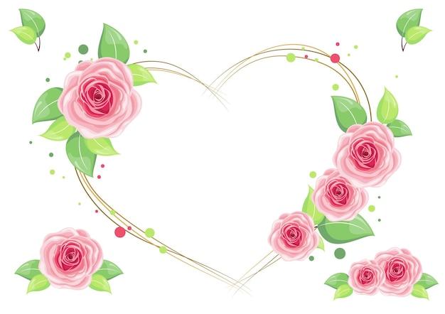 美しいピンクのバラの愛の花輪