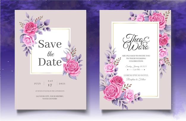아름 다운 핑크 장미 결혼식 초대 카드 서식 파일