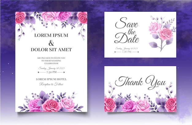 Beautiful pink roses wedding invitation card template