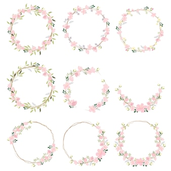 Beautiful pink sakura or cheery blossom flower wreath collection