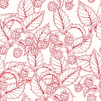 Beautiful pink seamless background with branches of delicious raspberry