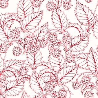 おいしいラズベリーの枝を持つ美しいピンクのシームレスな背景