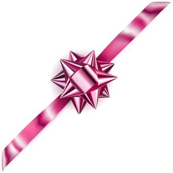 그림자가 있는 대각선 리본이 있는 아름다운 분홍색 빛나는 활