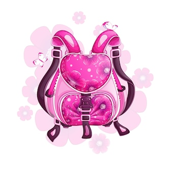 Beautiful pink sports backpack with a floral design.