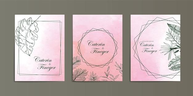 美しいピンクの水彩画の背景線画花の結婚式の招待状のテンプレート