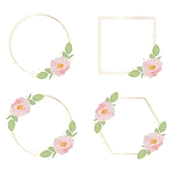 Beautiful pink watercolor english roses with golden frame collection