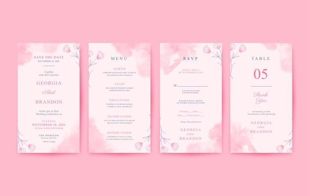 Beautiful pink watercolor vertical wedding invitation