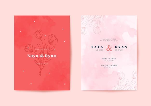 Beautiful pink watercolor wedding card template