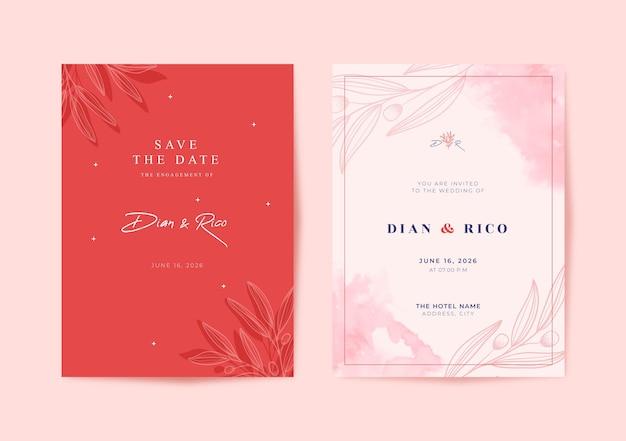 美しいピンクの水彩画のウェディングカード