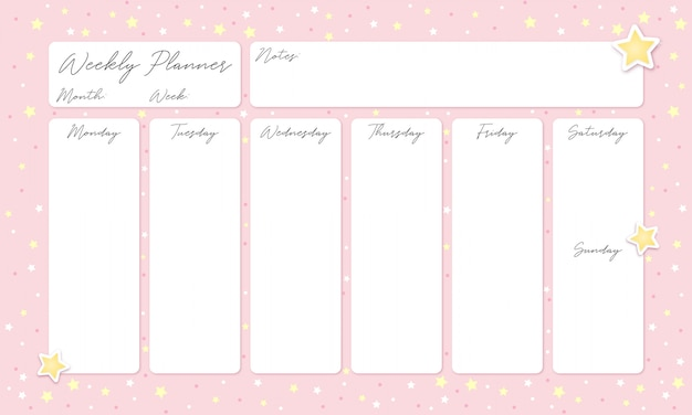 Beautiful pink weekly planner with stars