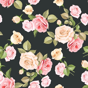 Beautiful pink and white roses seamless pattern